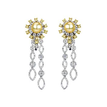 2.53tcw Diamonds & South Sea Pearl in 18K White Gold Flower Dangle Earrings