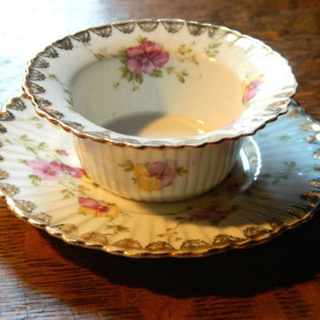 Victorian China Ramekin or Trinket Holder and Saucer - Gold Leaf with Pansies - Hand Signed