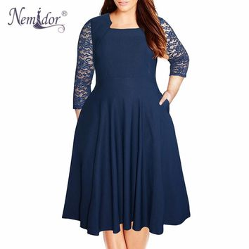 Nemidor Women Vintage Square Collar 3/4 Sleeve Swing Lace Patchwork Dress 7XL 8XL Party Midi Plus Size A-line Dress With Pockets