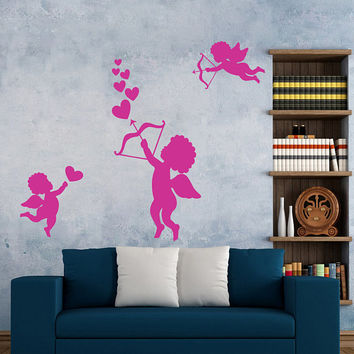 Angels Shooting Heart Wall Decal, Valentine's Day Wall Sticker, Valentine's Day Wall Decor, Love Day Angels Quote Wall Art Mural Decal se112