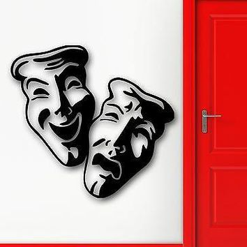 Wall Stickers Vinyl Decal Comedy Tragedy Mask Theatre Actors Hypocrite Unique Gift (ig1026)