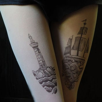 lighthouse, boat ,ship, lighthouse tattoo, boat tattoo,ship tatoo, tights, tattoo tights