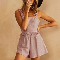 Ruffle Backless Cute Rompers Female Beach Casual Playsuit Sexy Tank Short Jumpsuit Rompers