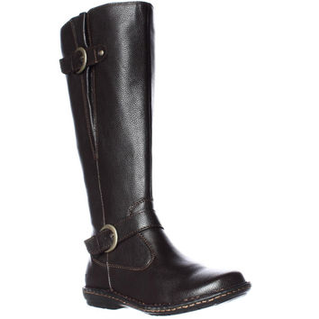 B.O.C. Born Faye Wide-Calf Comfort Boots - Dark Brown