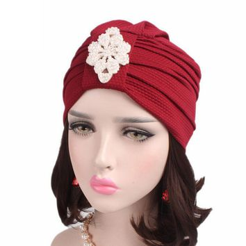 Women Beanie Hat Cotton Knitted Cancer Chemo Hat Scarf Turban Head winter hats for girls Wrap Cap erkek bere