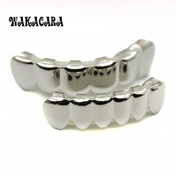 6 Tooth Free Shipping Silver Custom Top Bottom Grillz Bling Mouth Teeth Caps Hip Hop Grills