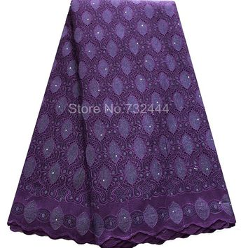 African Cotton Swiss Voile Lace Fabric High Quality Stones Cotton African Lace Fabric
