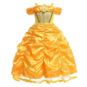 Beauty and The Beast Belle Dresses for Girls Princess Dress Cosplay Costumes Disney Belle Dress Wedding Party Birthday Clothes