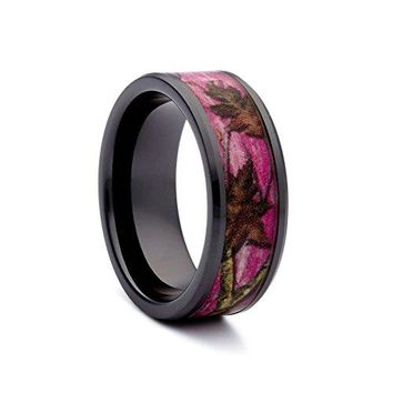 Pink Camo Wedding Rings by 1 CAMO  Pink Camo Promise Ring for Women  Camo Engagement Ring  Black Ceramic