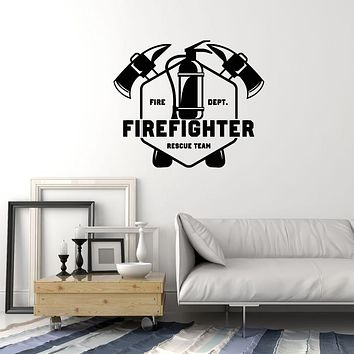 Vinyl Wall Decal Firefighter Rescue Team Fire Dept Firefighting Stickers Mural (ig6045)