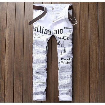 European American style 2016 Men's pants Straight luxury brand trousers Painted cotton white zipper Skinny Pencil Pants for men