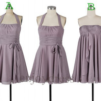 Custom Grey Short Bridesmaid Dresses 2014 Cheap Party Dress Fashion Wedding Party Dress Simple Chiffon Dress Prom Dress Homecoming Dresses