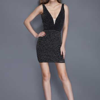 Primavera Couture - 3121 Crystal Beaded  V Neck Fitted Cocktail Dress