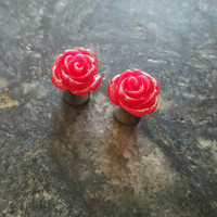 PLUGS - Red Roses Glitter Flowers Gauges Acrylic (You Choose Double Flare [acrylic or steel] or No Flare [acrylic]) 0g 2g 4g 8g