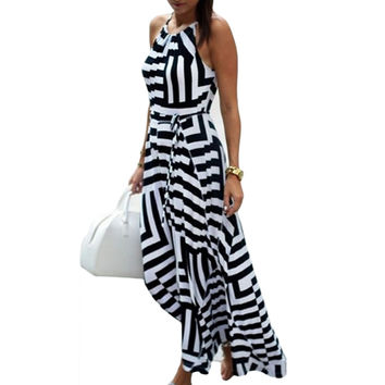 2016 Summer Sexy Stripe Dress Sundress Women Loose Chiffon Bodycon Beach Long Dress Maxi Dress Female Vestidos robe longue femme