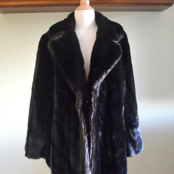 Vintage Faux Fur Coat, Tissavel France, Dark Chocolate Brown, Made in England, Size 42, 1970s