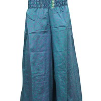 Women's Loose Palazzo Pants Blue Silk Sari Boho Long Skirt: Amazon.ca: Clothing & Accessories