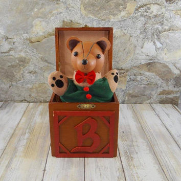 A Christmas Bear Jack in the Box from Dept 56 Collector Series, Music Box, 1987