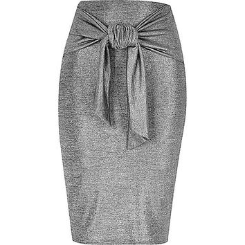 Silver tied waist pencil skirt - midi skirts - skirts - women