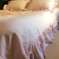 Pink Duvet Cover with ruffle hem, linen bedding, shabby chic bedding, available in Queen, King, twin bedding, pink bedding, pink duvet cover