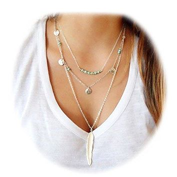 Suyi Exquisite Sequins Multilayer Chain Turquoise Beads Necklace with Feather Pendent