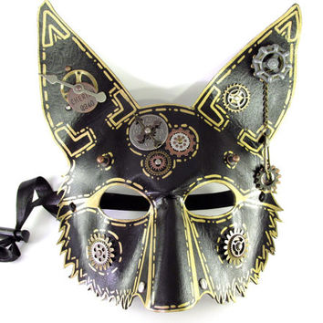 Leather Fennec Fox mask with Steampunk Elements and Gold Markings