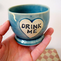 Alice in Wonderland Shot Glass 'Drink Me' heart shaped stoneware Frosty blue