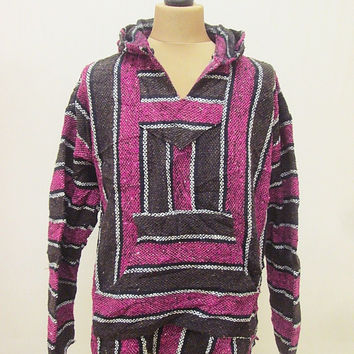 Vintage Mexican Striped Baja Jerga Festival Party Ethnic Knit Hoody Top Large