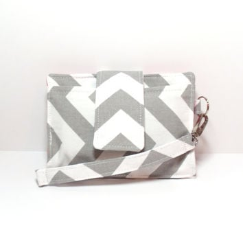 Cell Phone Wallet - Chevron - Gray White Coral - Smartphone Clutch - iPhone Wristlet