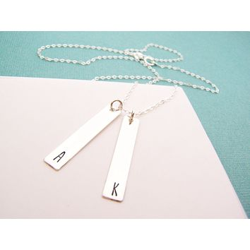 Two Initial -  Hand Stamped Personalized Sterling Silver Necklace