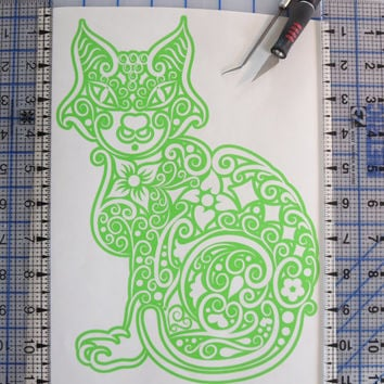 Cat Intricate Cat Vinyl Decal car truck auto vehicle window custom sticker hearts