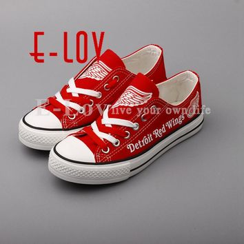 E-LOV Red Lace Shoes Detroit Red Wings Fans Customization Canvas Shoes Woman Girls Flat Shoes Drop Shipping
