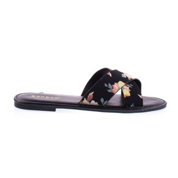 Bayside09s Black Floral By Bamboo Floral Open Toe Flat Sandal, Slide Slipper In Solid Or Floral Prints