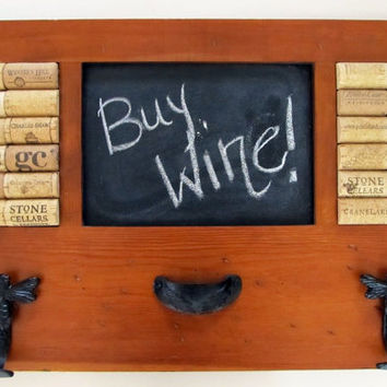 $50.00 OOAK Wine Cork Chalk Board Home Message Center by LizzieJoeDesigns