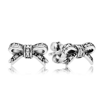 Authentic 925 Sterling Silver Earring Sparkling Silver Bow Crystal Studs Earrings Women Jewelry