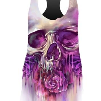 """Women's """"Painted Skull"""" Sublimation Tank by Lethal Angel (White/Purple)"""