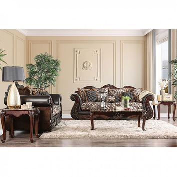 Furniture of america SM6405 2 pc jamael collection brown fabric sofa and love seat set with wood trim