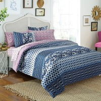 Indigo Floral 7-piece Bed in a Bag with Sheet Set | Overstock.com Shopping - The Best Deals on Bed-in-a-Bag