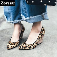 Summer Womens Shoes wedges High heels Pumps Women office shoes 2017 NEW Genuine leather Horse hair woman shoes pointed toe heels