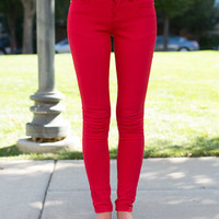 Finest Bright Red Skinny Jeans