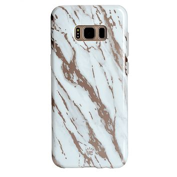 White Marble Rose Gold Chrome 2 Samsung Galaxy Case