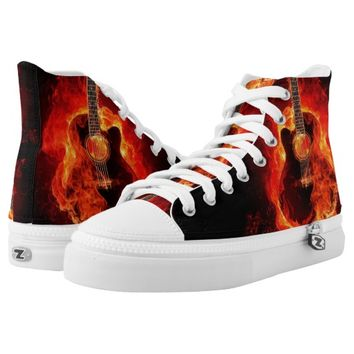 Zipz High Top Shoes, Burning Guitar Flames, Music
