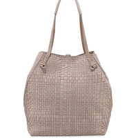 Woven Double-Handle Tote Bag, Light Taupe - Henry Beguelin