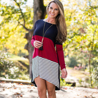 Multicolor Striped Long Sleeve Dress