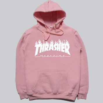 THRASHER Fashion women men flame sweater hat hooded couple lovers long-sleeved jacket Grey-1