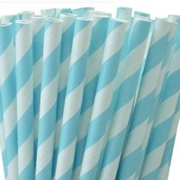 "25 Paper Drinking Straws Baby Blue Stripes 7.75"" Retro Vintage Style Durable"