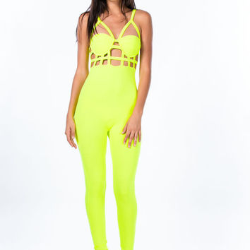 Yellow Strappy Cut-Out Jumpsuit