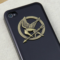 Hunger Games brass Logo Mockingjay pendant black by MyTeenageDream