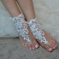 Original Design Free Ship wedding barefoot sandals Beach shoes, bridal sandals, lace sandals, wedding bridal, ivory accessories, summer wear