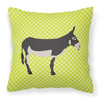 American Mammoth Jack Donkey Green Fabric Decorative Pillow BB7670PW1818